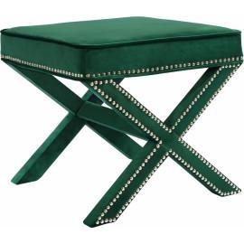 X Frame Deep Green Velvet Ottoman Footstool