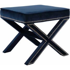 X Frame Navy Blue Velvet Ottoman Footstool