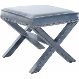 X Frame Light Blue Velvet Ottoman Footstool