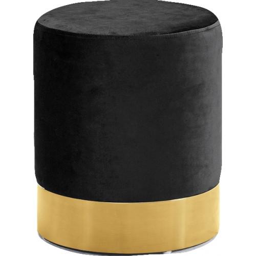 Black Round Velvet Ottoman Footstool Gold Base