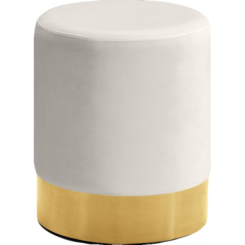Cream Round Velvet Ottoman Footstool Gold Base