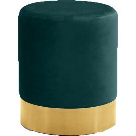 Green Round Velvet Ottoman Footstool Gold Base