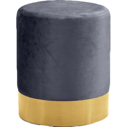 Grey Round Velvet Ottoman Footstool Gold Base
