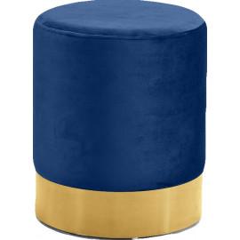 Blue Round Velvet Ottoman Footstool Gold Base