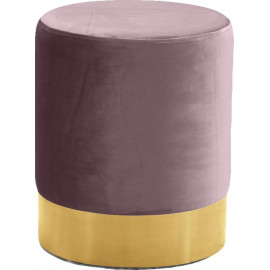 Pink Mauve Blush Round Velvet Ottoman Footstool Gold Base