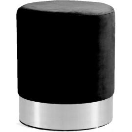 Black Round Velvet Ottoman Footstool Silver Base