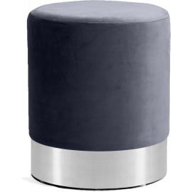 Grey Round Velvet Ottoman Footstool Silver Base