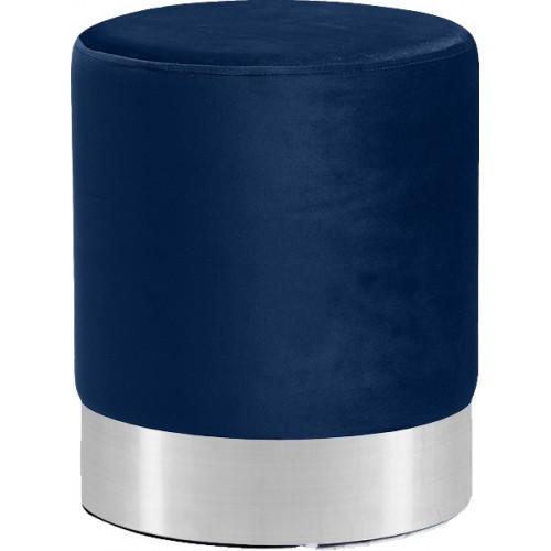 Blue Round Velvet Ottoman Footstool Silver Base