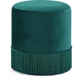 Green Fringed Round Velvet Ottoman Footstool