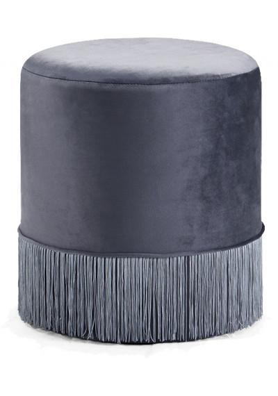 Silver Grey Fringed Round Velvet Ottoman Footstool