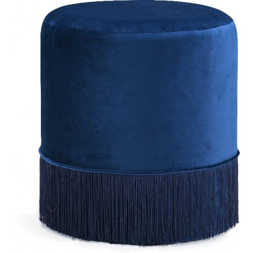 Blue Fringed Round Velvet Ottoman Footstool