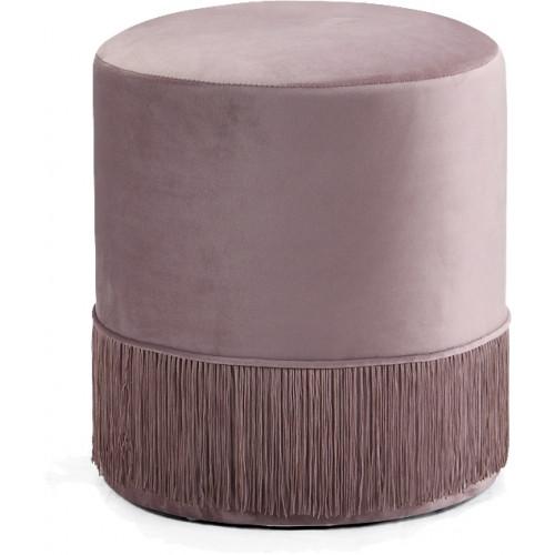 Blush Pink Fringed Round Velvet Ottoman Footstool