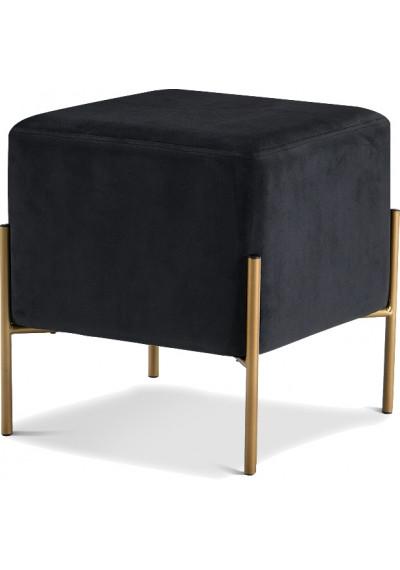 Square Black Velvet Modern Ottoman Footstool