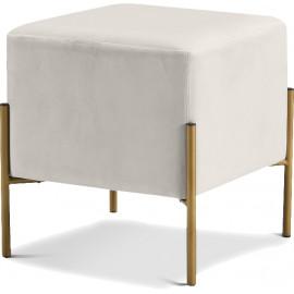 Square Cream Velvet Modern Ottoman Footstool