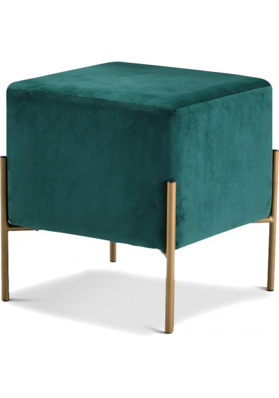 Square Deep Green Velvet Modern Ottoman Footstool