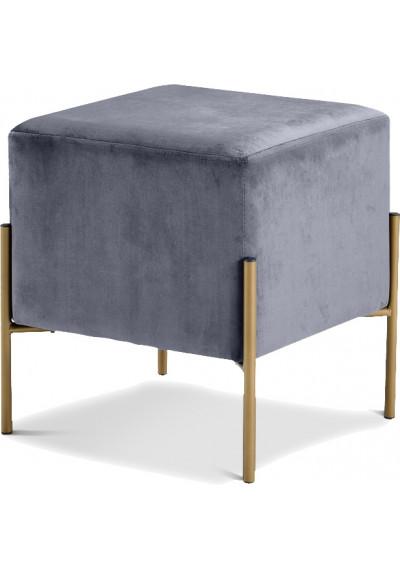 Square Grey Velvet Modern Ottoman Footstool
