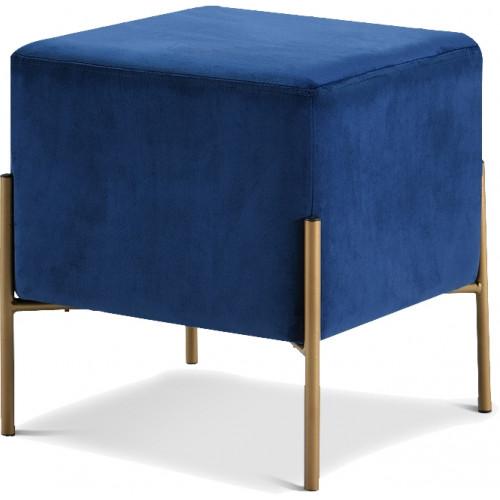 Square Blue Velvet Modern Ottoman Footstool