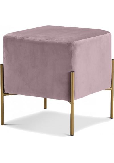 Square Blush Mauve Pink Velvet Modern Ottoman Footstool