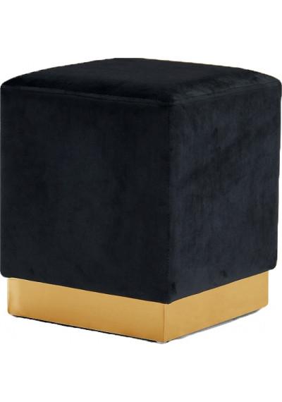 Black Square Velvet Ottoman Footstool Gold Base