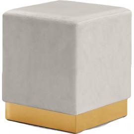 Cream Square Velvet Ottoman Footstool Gold Base