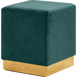 Deep Green Square Velvet Ottoman Footstool Gold Base