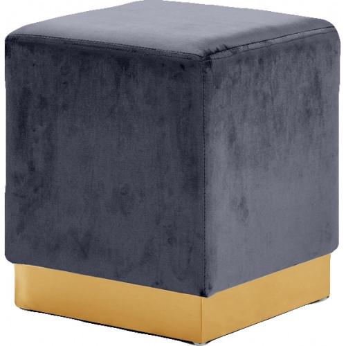 Grey Square Velvet Ottoman Footstool Gold Base