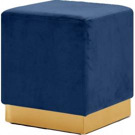Blue Square Velvet Ottoman Footstool Gold Base