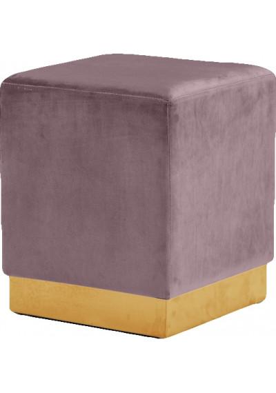 Blush Pink Mauve Square Velvet Ottoman Footstool Gold Base