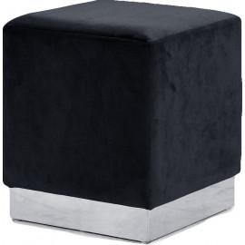 Black Square Velvet Ottoman Footstool Silver Base