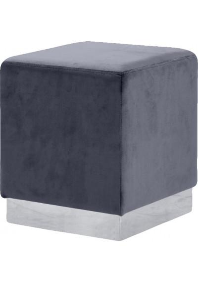 Grey Square Velvet Ottoman Footstool Silver Base