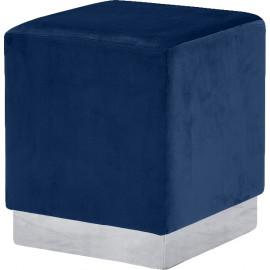 Blue Square Velvet Ottoman Footstool Silver Base