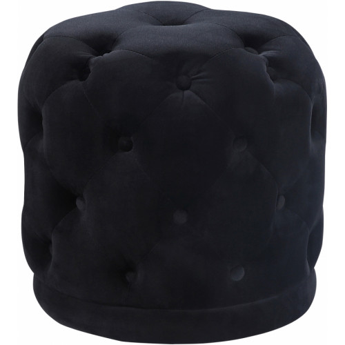 Black Round Velvet Tufted Ottoman Footstool
