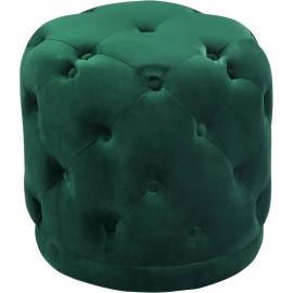 Deep Green Round Velvet Tufted Ottoman Footstool