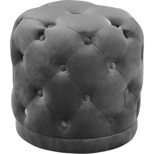 Grey Round Velvet Tufted Ottoman Footstool