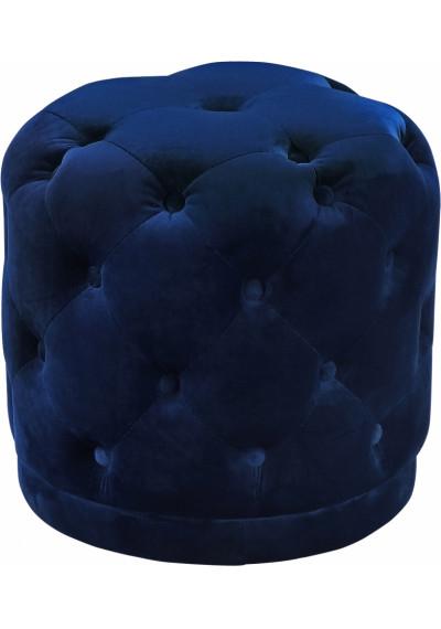 Blue Round Velvet Tufted Ottoman Footstool