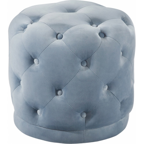 Light Blue Round Velvet Tufted Ottoman Footstool