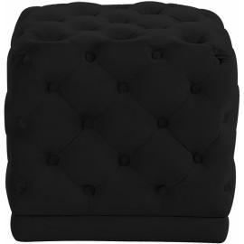 Black Square Velvet Tufted Ottoman Footstool