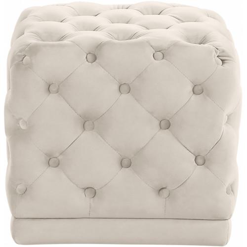 Cream Square Velvet Tufted Ottoman Footstool