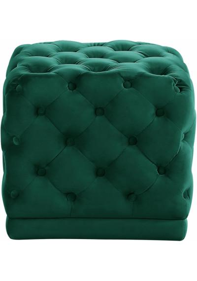 Deep Green Square Velvet Tufted Ottoman Footstool