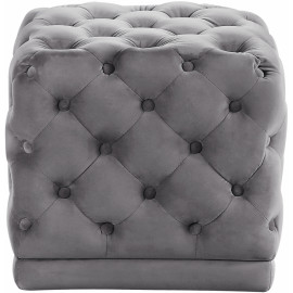 Grey Square Velvet Tufted Ottoman Footstool
