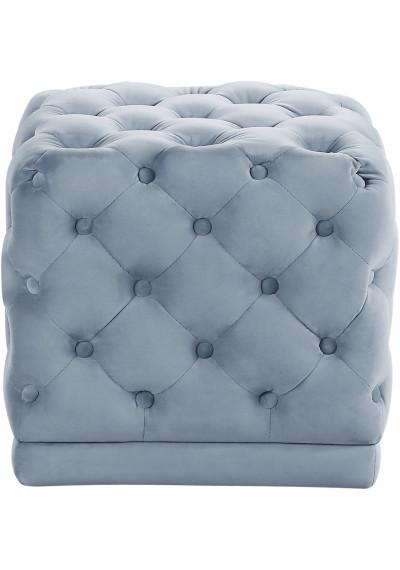 Light Blue Square Velvet Tufted Ottoman Footstool