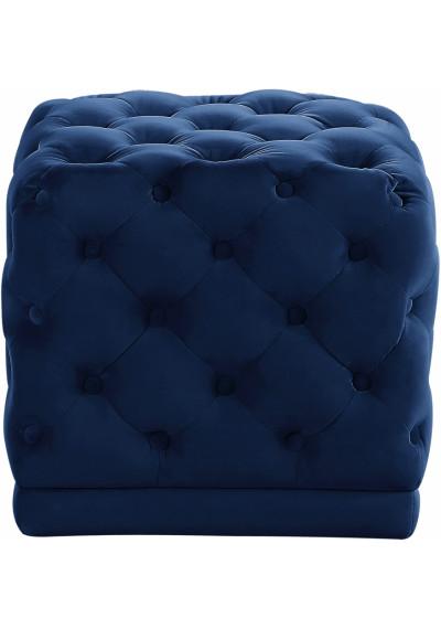 Blue Square Velvet Tufted Ottoman Footstool