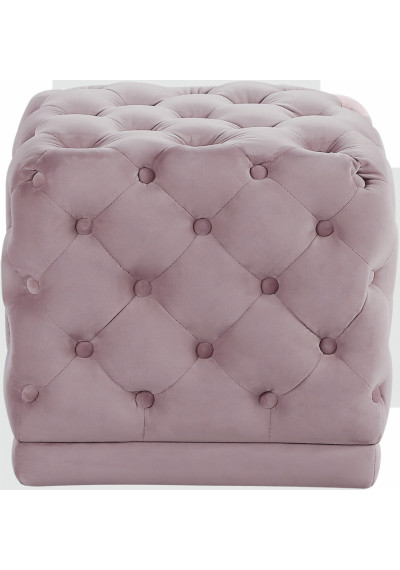 Blush Pink Square Velvet Tufted Ottoman Footstool