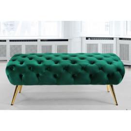 Green Velvet All Over Tufted Ottoman Bench Gold Pencil Legs