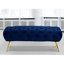 Blue Navy Velvet All Over Tufted Ottoman Bench Gold Pencil Legs