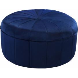 Blue Velvet Large Round Center Tuft Coffee Table Ottoman