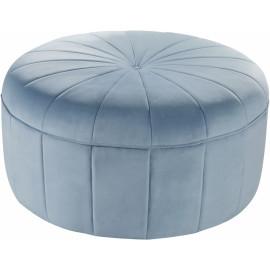 Baby Blue Velvet Large Round Center Tuft Coffee Table Ottoman