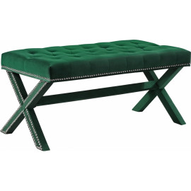 Green Velvet X Frame Tufted Ottoman Bench Silver Nailhead Trim