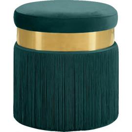 Green Long Fringed Round Velvet Ottoman Footstool