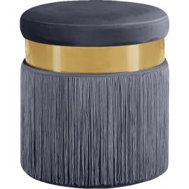 Grey Long Fringed Round Velvet Ottoman Footstool